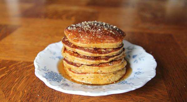 Paleo Pumpkin Pancakes. Click for more great Paleo baked goods.